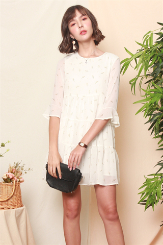 *BACK IN STOCK* ACW Dandelion Bell Sleeve Tiered Dress in White