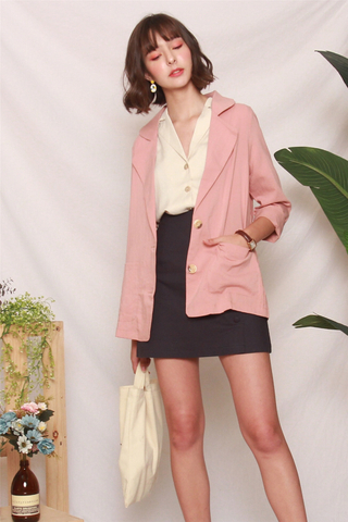 *BACK IN STOCK* Linen Blazer in Dusty Pink