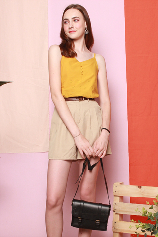 Eyelet Button Cami Top in Daffodil