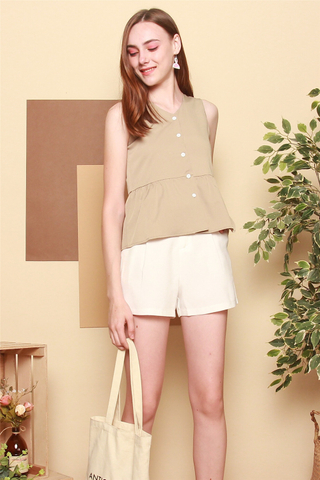 ACW Button Down Sleeveless Peplum Top in Sage Green