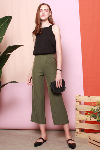 High Waisted Flare Pants in Olive