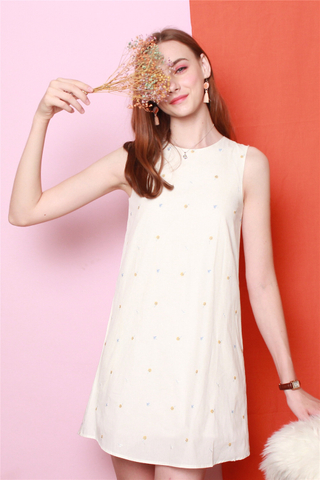 *Backorder* ACW Embroidery Mini Floral Trapeze Dress