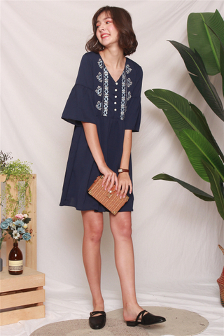 Aztec Embroidery Sleeved Babydoll Dress in Navy