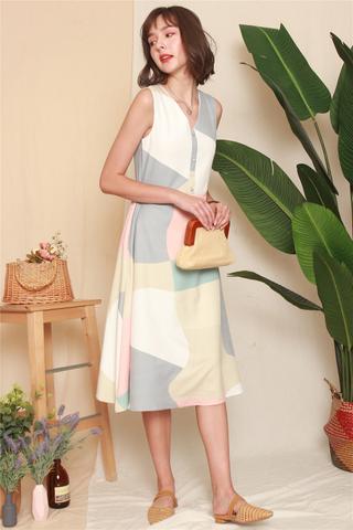 Abstract Colourblock Flare Midi Dress