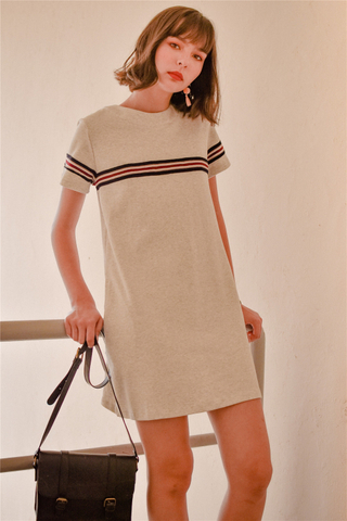 *BACK IN STOCK* ACW Knit Panel Stripe Tee Dress in Light Grey