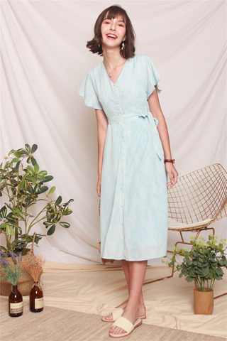 Drawn Feathers Flutter Sleeve Midi Dress in Sky Blue