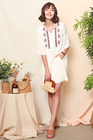 Aztec Embroidery Sleeved Babydoll Dress in White