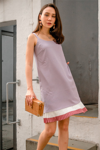 ACW Colourblock Pleats Slip Dress in Dusty Grey