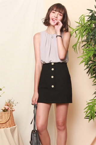 Structured Button Panel Skirt in Black