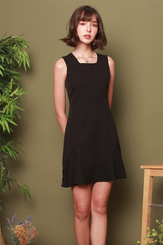 Square Neck Dropwaist Work Dress in Black