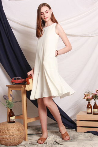 ACW Dropwaist Flounce Midi Dress in White