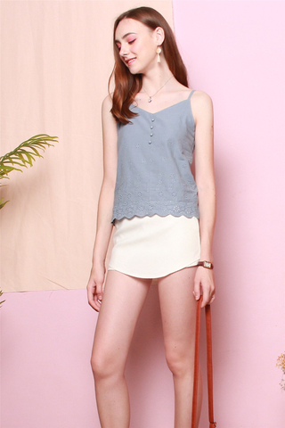 Eyelet Button Cami Top in Blue