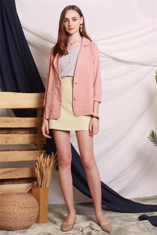 Linen Blazer in Dusty Pink