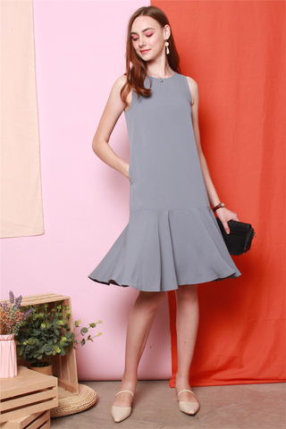 ACW Dropwaist Flounce Midi Dress in Ash Blue