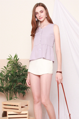ACW Button Down Sleeveless Peplum Top in Dusty Grey