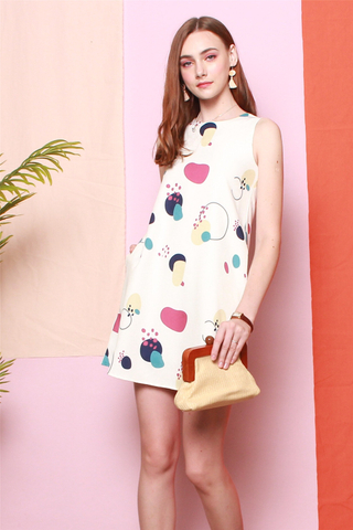 *BACK IN STOCK* Printed Trapeze Dress in White Circle Abstract