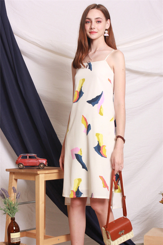 Coloured Feathers Slip Midi Dress in White