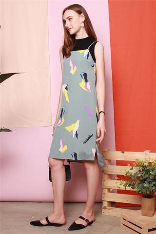 Coloured Feathers Slip Midi Dress in Jade