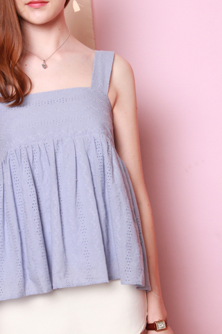 *BACK IN STOCK* ACW Pastel Eyelet Flounce Top in Periwinkle