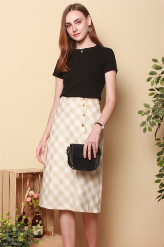 Gingham Circle Midi Skirt in Khaki
