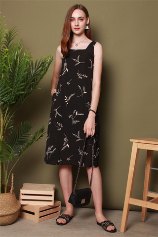 Drawn Leaves Sash Midi Dress in Black
