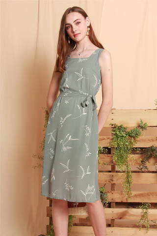 Drawn Leaves Sash Midi Dress in Sage Green