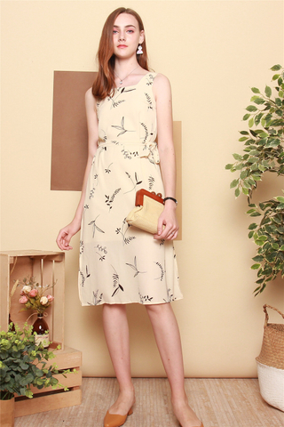 Drawn Leaves Sash Midi Dress in Ivory