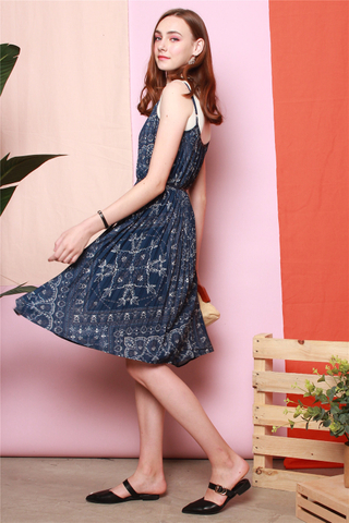 Porcelain Batik Tent Dress in Navy