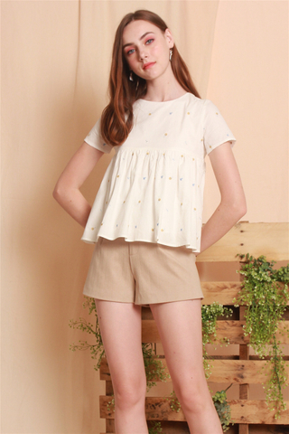 *Backorder* ACW Sleeve Babydoll Top in Embroidery Mini Floral