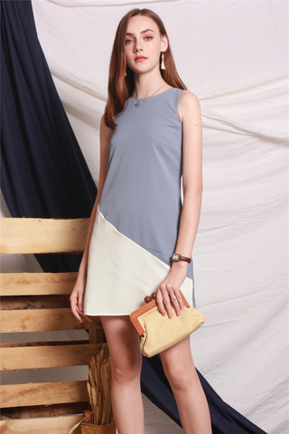 Colourblock Line Trapeze Dress in Ash Blue