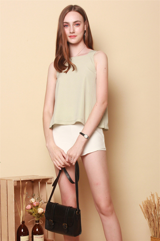 *BACK IN STOCK* ACW Basic Cut In Top in Sage Green