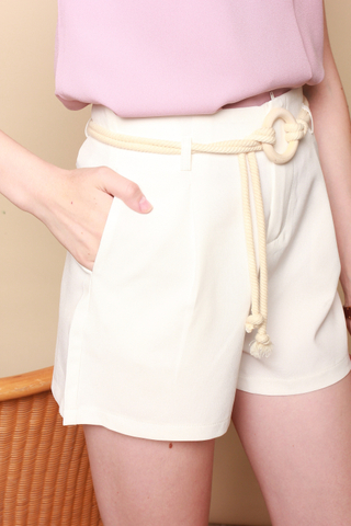 Circle Weave Belt Shorts in White