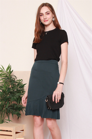 Pleated Asymmetrical Midi Skirt in Emerald