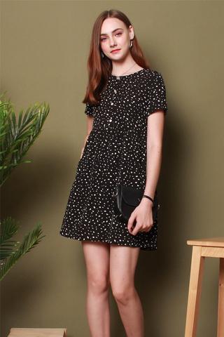 Speckles Printed Romper Dress in Black