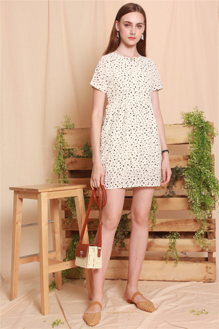 Speckles Printed Romper Dress in White