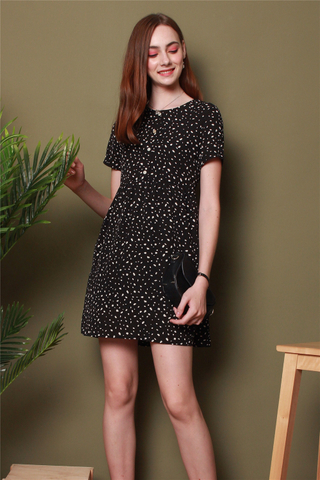 Speckles Printed Romper Dress in Black