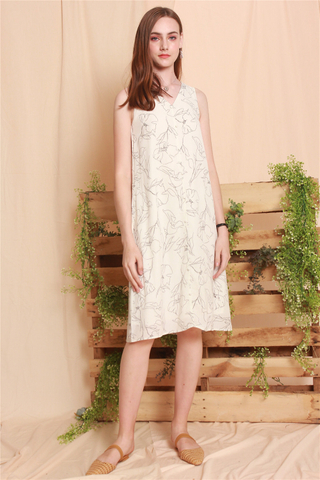 Sketched Florals Midi Dress in White
