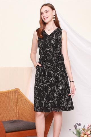 Sketched Florals Midi Dress in Black
