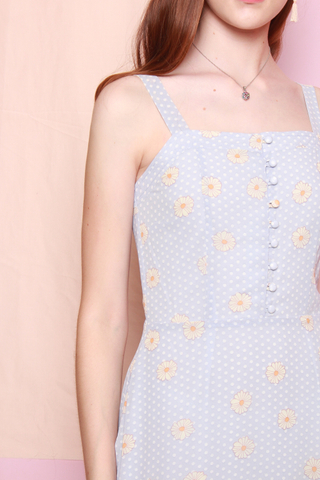 Daisy Floral Button Swing Dress