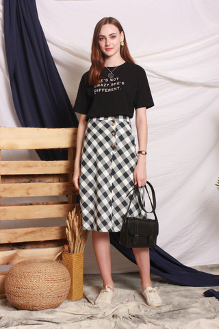Gingham Circle Midi Skirt in Blue