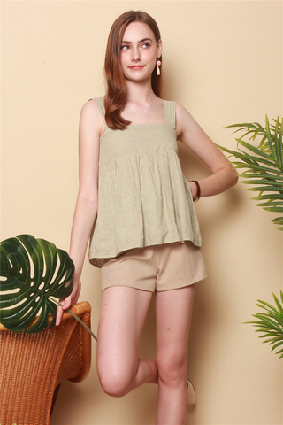 *BACK IN STOCK* ACW Pastel Eyelet Flounce Top in Sage Green