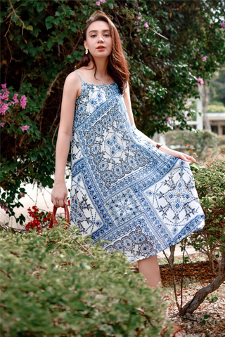 Porcelain Batik Tent Dress in White