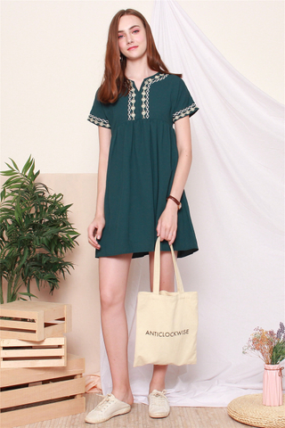 Embroidery Tie Front Babydoll Dress in Emerald