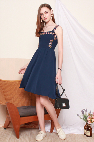 ACW Rose Embroidery Midi Swing Dress in Navy