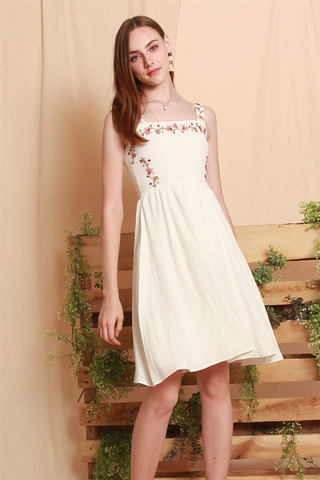 ACW Rose Embroidery Midi Swing Dress in White