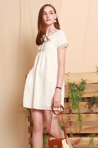 Embroidery Tie Front Babydoll Dress in White