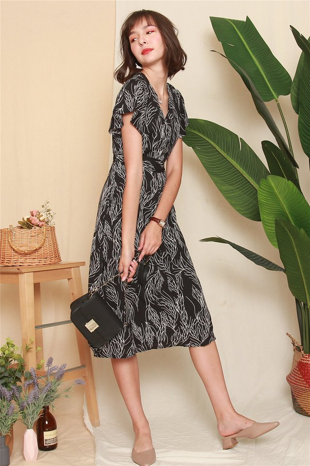 Drawn Feathers Flutter Sleeve Midi Dress in Black
