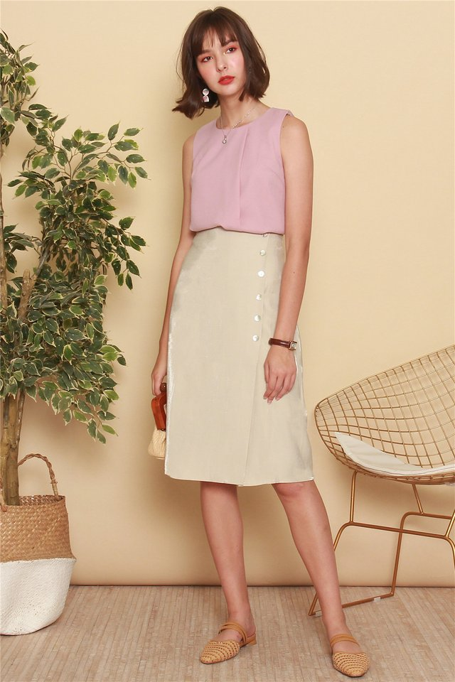 Button Panel Midi Slit Skirt in Ivory