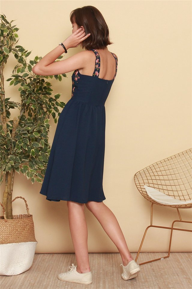 *BACK IN STOCK* ACW Rose Embroidery Midi Swing Dress in Navy