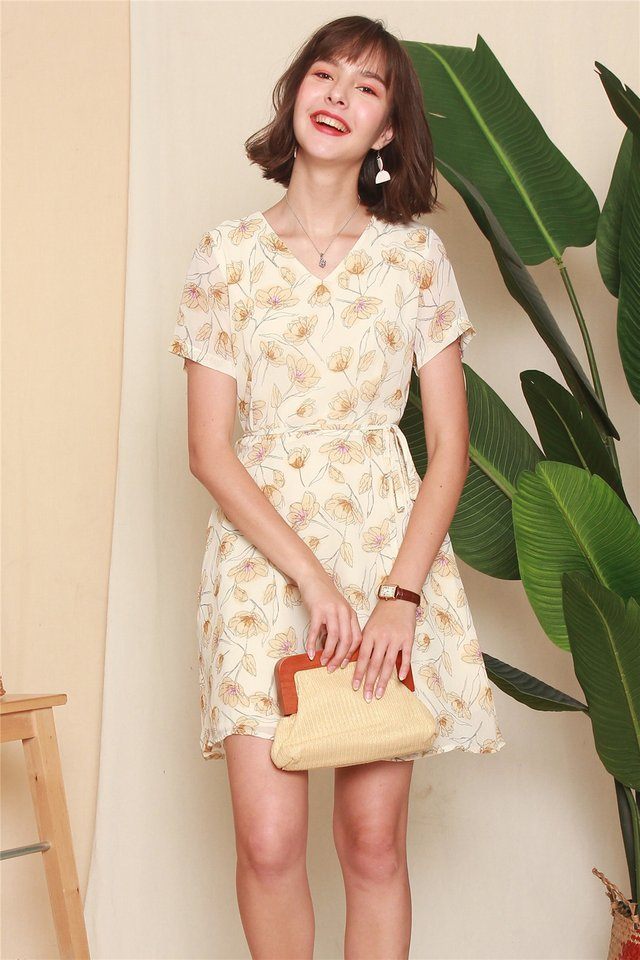 ACW Floral Sash Sleeved Swing Dress in Ivory